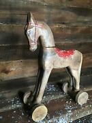 Farmhouse Christmas Rustic Wooden Horse Tabletop Decoration 17andrdquox12andrdquo Wheels 🎄
