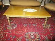 Antique Early Neo Classical Italian Coffee Table Bench Fluted Legs Leaf Trim