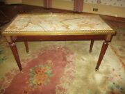 Antique Louis Xvi French Rect Coffee Table W/ Brass Gallery And Marble