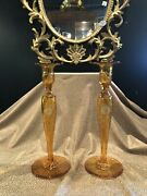 Pair Of Pairpoint Honey Amber Etched Glass Candlesticks Candle Holders Daisy