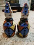 Antique Vintage Clown Salt And Pepper Shaker And Containers