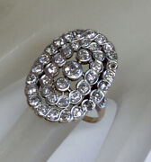 3.05ct Antique Victorian Diamond Oval Shape Cocktail Ring Solid 18k Yg And Silver