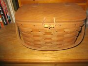 Longaberger Small Purse Basket 1986 With Hinged Lid And Swivel Handle