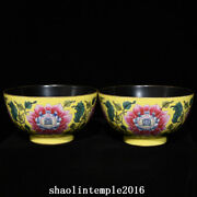 A Pair China Qing Dynasty Yellow Background Enamel Flower Pattern Bowl