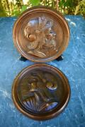 Pair Of Carved Walnut Wood Medallions 19th Century - Military Profile
