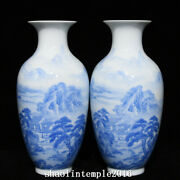 A Pair China Qing Dynasty Sapphire Blue Landscape Figure Pattern Bottle