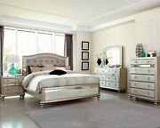 Modern Hollywood Glam 5-piece Bedroom Set With Usb Queen Bed Metallic Platinum