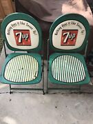 2 Rare 7up Soda Bottle Metal Sign Folding Chair Promotional Advertising Chair