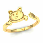 22k Solid Yellow Gold Ladies Jewelry Elegant Simple Cat Band Ring Cgr82