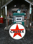 Xtra Large 37 Inch Vintage Style Caltex Gasoline Sign