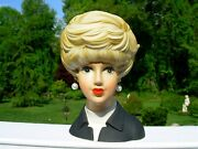 Vtg Lady Headvase Inarco E4095 Black White Tops Platinum Blonde Gray Eyes 7 3/4