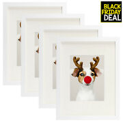 Golden State Art Set Of 4 12x16 White Picture Frame - Matted To Fit Pictures ...