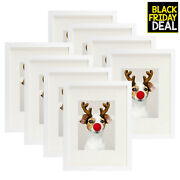 Golden State Art Set Of 8 12x16 White Picture Frame - Matted To Fit Pictures ...