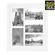 116x137 White Photo Wood Frame With Glass And White Mat Displays 5 4x6 Pictures