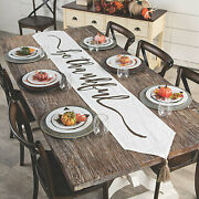 12 X 60 Farmhouse Fall Canvas Be Thankful Table Runner Thanksgiving Decoration