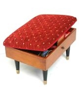 Vintage Retro Beech Sewing Box Padded Seat Foot Stool With Contents [ Pl-6653 ]