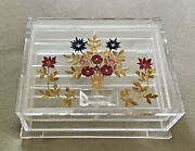 Mid Century Mcm Lucite Acrylic Jewelry Box Pin Hinge Lid Divider Dried Flowers