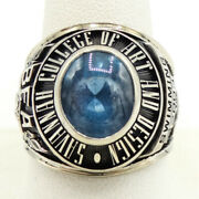 10k White Gold Blue Spinel Savannah College Of Art And Design Class Ring S1220