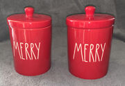 2 Rae Dunn Merry Jars Red Canisters Ceramic Ll Christmas Holiday Decor New 6andrdquo
