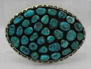Incredible Vintage Navajo 35 Stone Turquoise And Sterling Silver Belt Buckle