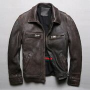 Men Retro Vintage Brown Leather Jacket Motorcycle Jackets Thick Cowhide Coats