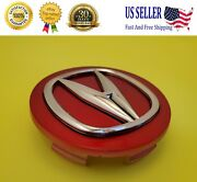 Acura Set Of 4 Red-chrome Wheel Center Caps 69mm - Satisfaction Guaranteed