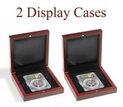 2 Coin Slab Display Storgare Gift Boxes Wood For Certified Ngc Pcgs Lighthouse