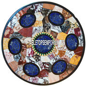 30and039and039 Marble Round Top Table Lapis Mosaic Mult Stone Inlay Collectable Home Decor