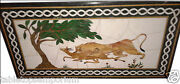 30x48 Marble Dining Corner Marquetry Table Top Inlay Lion Mosaic Kitchen Decor