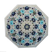 2and039x2and039 White Marble Coffee Table Top Lapis Lazuli Turquoise Pauashell Inlay Decor