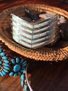 Rare Vtg Navajo Opal Inlay Sterling Silver Cuff Andrew Enrico And Zuni Earrings