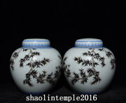 A Pair China The Qing Dynasty Ink Color Green Bamboo Pattern Cover Can