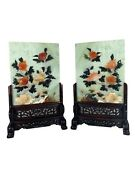 Pair Of Jade Table Screens With Hand Carved Wood Base