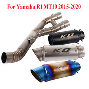 Motorcycle Exhasut Set Pipe Mid Connect Tube 61mm Muffler Tip For Yamaha R1 Mt10