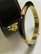 Black Onyx And 14k Yellow Gold Engraved Cocktail Vintage Bangle. Austria C1960and039s.