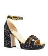 Soko Blue Glitter Bee Platform Sandals Limited Edition Rare 38 Sold Out