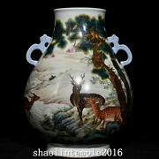 10.4old China The Qing Dynasty Pastel Pine Deer Picture Double Ear Bottle
