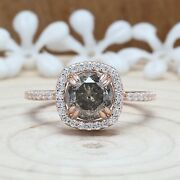 Salt And Pepper Round Diamond 14k Solid Gold Ring Engagement Ring Kdl8744