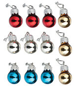 Dollhouse Miniature Christmas Ornaments, Red, Silver, Gold And Blue