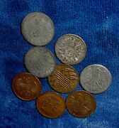 Germany Lot Of 8 Imitation Play Money Small Size Coins From The 1920s-40and039s