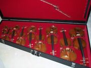 9 Piece Beautiful Violin Collection With Bows In Custom Collectors Case
