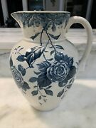 Antique Burgess And Leigh Burslem England Blue Floral Pitcher Pattern-blossom 11andrdquo