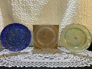 Nib Set Of 3 Imperial Glass Christmas Plates - Blue 1, Frosted 4 And Green