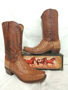 Lucchese Menand039s Boot Luke 7 Toe Fq Ostrich Jersey Calf Uppers N1156.73 711