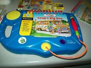 Leap Frog My First Leap Pad Blue Learning System Books Cartridges Lot 6 Books