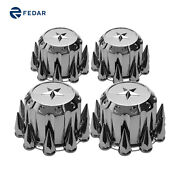 Semi Truck Chrome Spiked Rear Hubcaps Kits With Star Top 4pcs Hub Cover