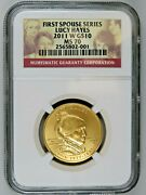 2011 W Lucy Hayes First Spouse 1/2 Oz Gold 10 Ngc Ms70 Bu