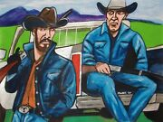Yellowstone Painting Kevin Costner Western Series Cowboy Hat Denim Winchester