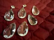 6 Vintage Small Cut Crystal Chandelier Double Prisms 2 Inch Tear Drops