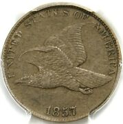 """🤎❤️🦅s8""""reverse Die Clash With Seated Quarter"""" Pcgs Xf45+1857 Flying Eagle Cent"""